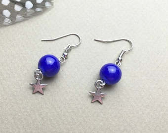 dangle earrings - Pearl Royal blue glass - Silver Star charm - silver finishes