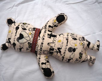 Great fun Teddy for decor and 51x37cm, 4 legs, ecru fabric with black animals