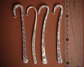 mixed 4 bookmark - 12cm with patterns and crochet, antique silver