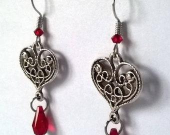 hearts and Swarovski crystal earrings