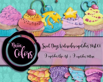 Sweet Days Watercolor Cupcake Clip Art Pattern