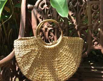 Cane Handle Straw Tote