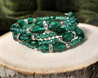 Green, Silver and Rhinestone Beaded Bracelet