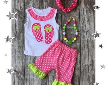 Polka dot Flip Flops short set outfit