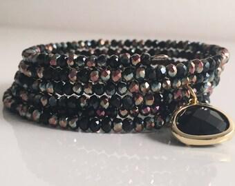 Beetle spring bracelet with pendant