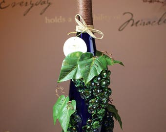 Wine Bottle with Grapes and Vines
