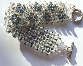 Curb chain or bracelet cuff in gray and black swarovski crystal