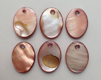 5 / 8 set mother of Pearl Brown Shell oval beads sequin patch ~ 19mm