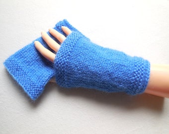Sleeves fingerless gloves wrist warmers hand knitted blue -