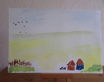 original watercolor painting signed and dated with fence and cabins