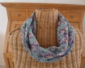 snood blue chiffon with white and purple flowers