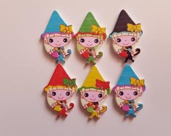 Set of 5 little Elves wooden buttons