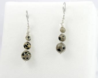 Set: Earrings / bracelet / necklace-Dalmatian Jasper beads.