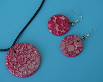 Set necklace and earrings with pink polymer clay / silver