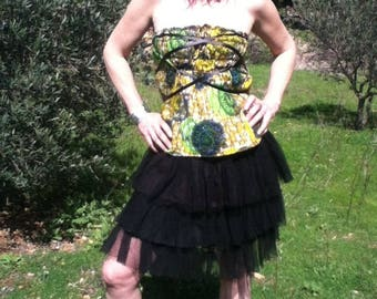 Corset / Skirt Multiposition African yellow/green/blue cotton