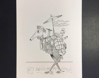 Boutique, Illustration originale à l'encre noire