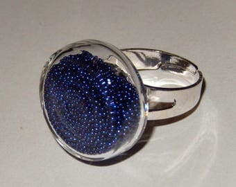Glass bubble ring - Midnight Blue Pearlescent Inclusion