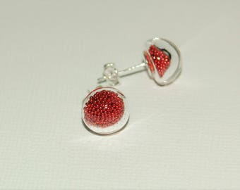 Earrings bubbles of glass - Inclusion with red microballs