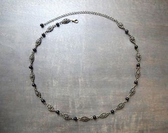 """Headband or necklace """"Jenna"""" with black agate stone beads"""