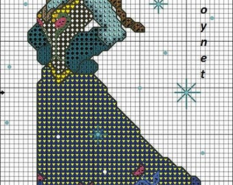 pattern to knit or crochet a drawing with princesses