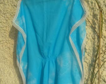 boat neckline hand painted blue Pancho