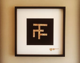 Scrabble personalised family picture frame large