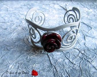 Gunmetal grey and pink plum arabesque bracelet