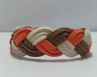 Gold, orange and beige suede braided bracelet