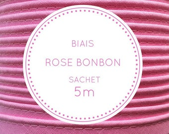 Sachet 5 m bias - pink - Malabar