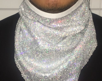 White holo sequin face mask