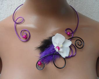 Floral necklace for bride or light - purple black and white and fuchsia - Orchid
