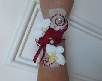 """Flowers for wedding - ivory and Burgundy - """"Orchid"""" bracelet"""