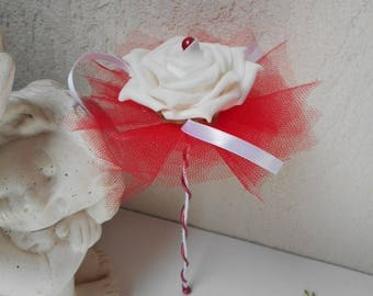 Bridesmaid bouquet - red and White Wand bouquet
