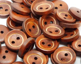Round 2 hole wooden buttons 15mm