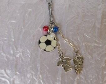 Silver soccer ball key chain