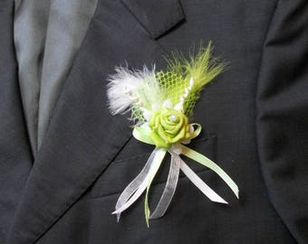 Lime green color wedding boutonniere