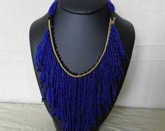 "Necklace ""Bamba"" azur blue tribal beads"