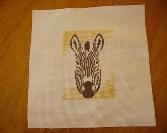 Zebra cross-stitched