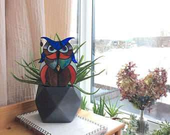 Stained glass suncatcher ~  Owl  ~ Original design ~ Tiffany technique ~ Stunning home decor ~ Art Glass ~ Handmade