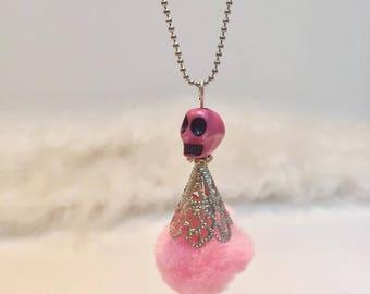 Doll skull ORIGINAL pink tassel necklace