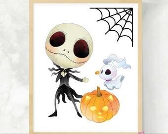 Jack and Zero | Nightmare Print | Cute Halloween Print | The Pumpkin King | Halloween Wall Art | Jack and Sally | Kids Halloween Art