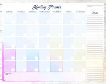 Monthly Calendar | Blank Calendar PDF | Habit Tracker | Monthly Planner Insert | Watercolor Planner Design | Monthly Planner Printable
