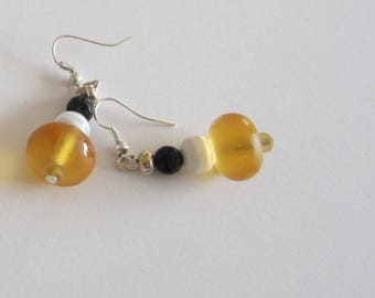 Earrings black white yellow Lampwork Glass Beads