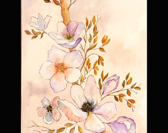 Watercolor and flowers of spring