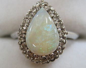 Circa 1950s/60s 14K White Gold Opal and Diamond Ring