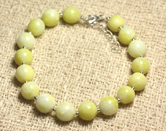 Bracelet 925 sterling silver and gemstone - lemon Jade 8 mm