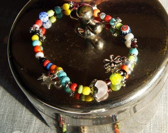 Multicolor bracelet, various beads