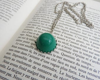 Long fashion convex cabochon vintage Green - Green long necklace - wife jewelry - gift for her