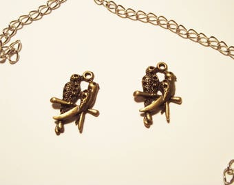 """bronze 2 charms """"a couple of birds"""""""