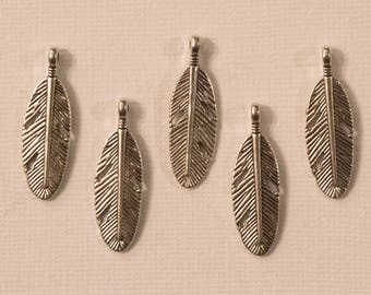 Set of 5 Silver feather charms